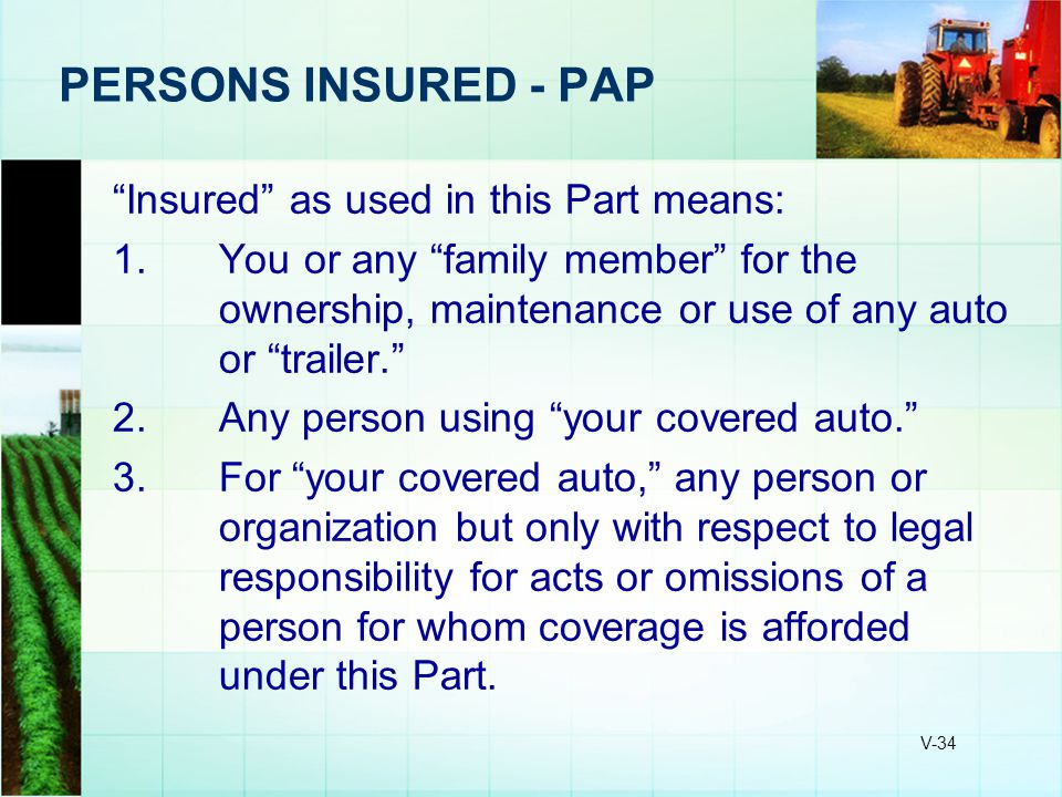 PERSONS INSURED - PAP