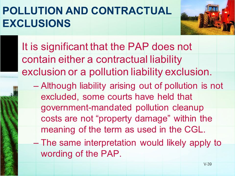 POLLUTION AND CONTRACTUAL EXCLUSIONS