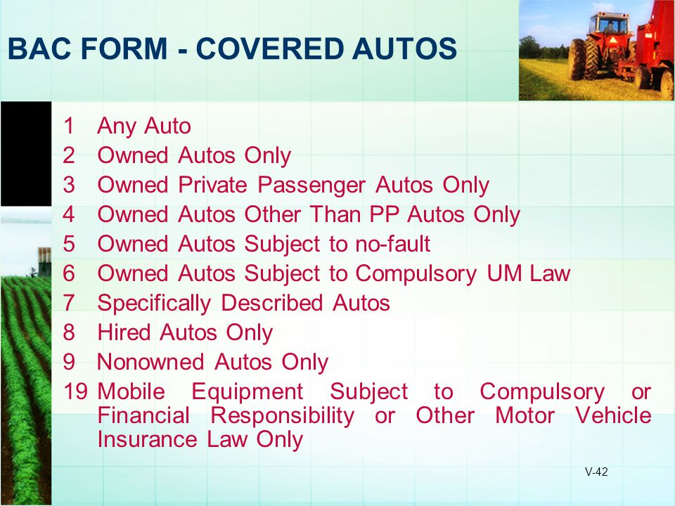 BAC FORM - COVERED AUTOS