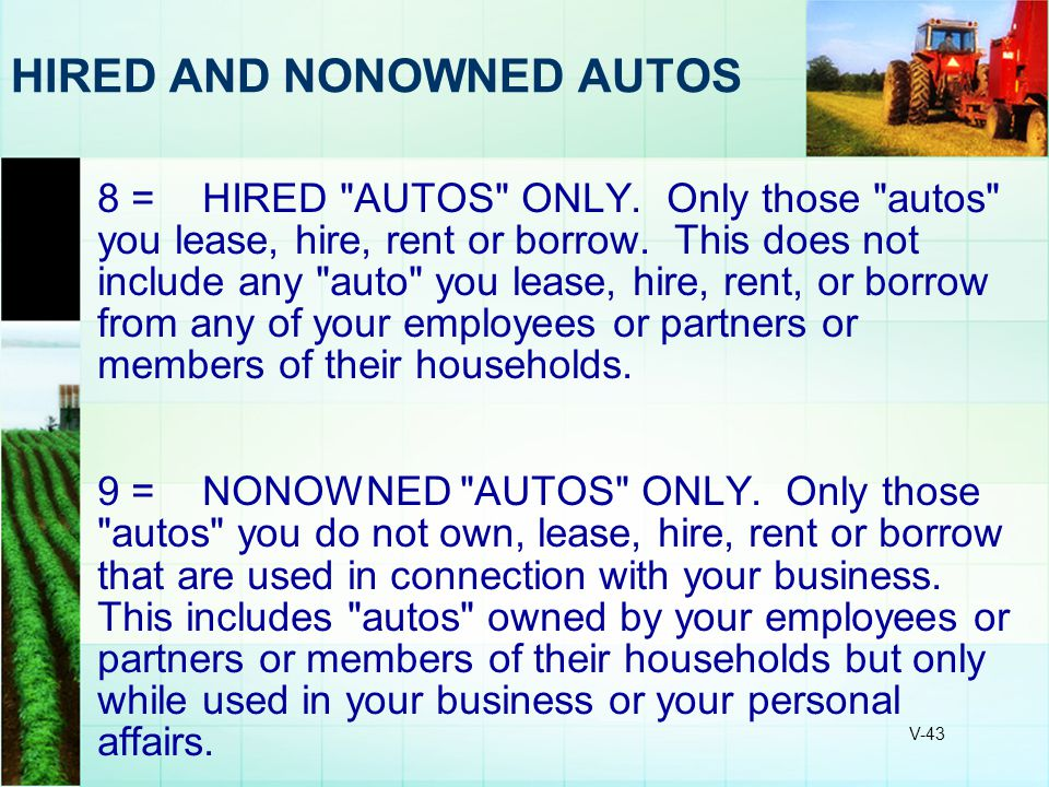 HIRED AND NONOWNED AUTOS