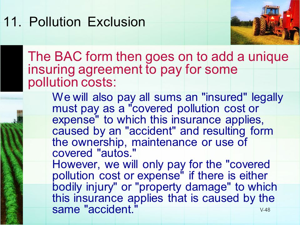 11. Pollution Exclusion The BAC form then goes on to add a unique insuring agreement to pay for some pollution costs: