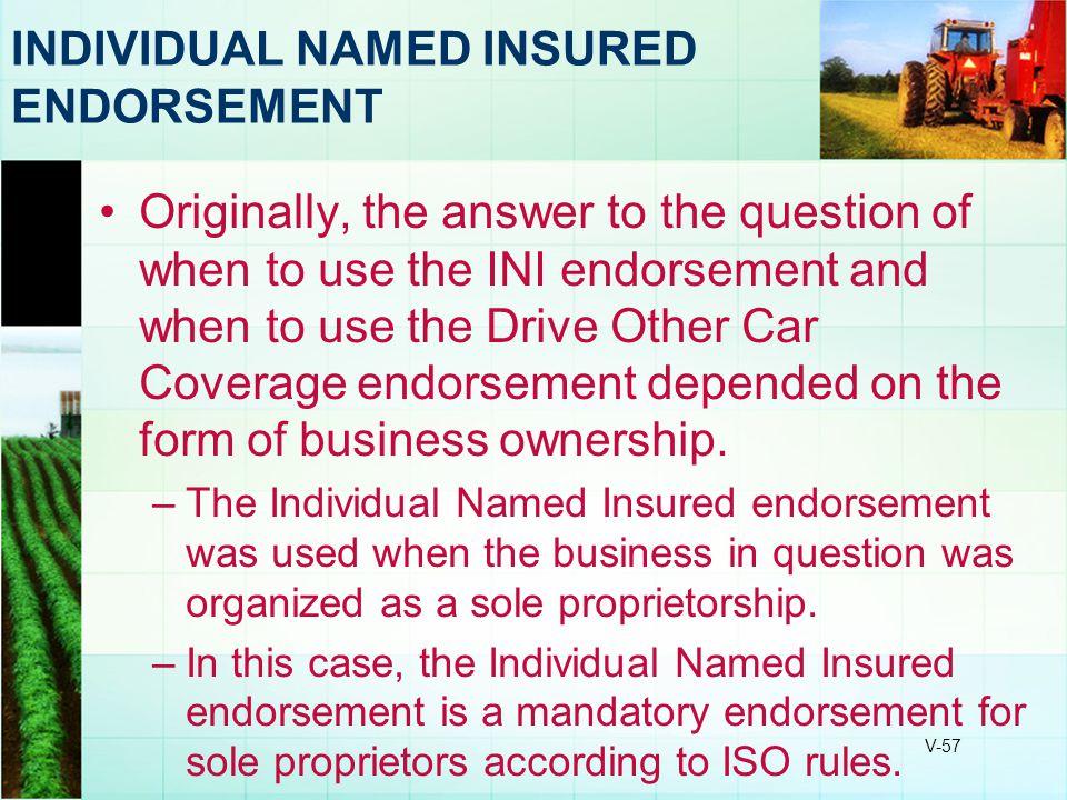INDIVIDUAL NAMED INSURED ENDORSEMENT