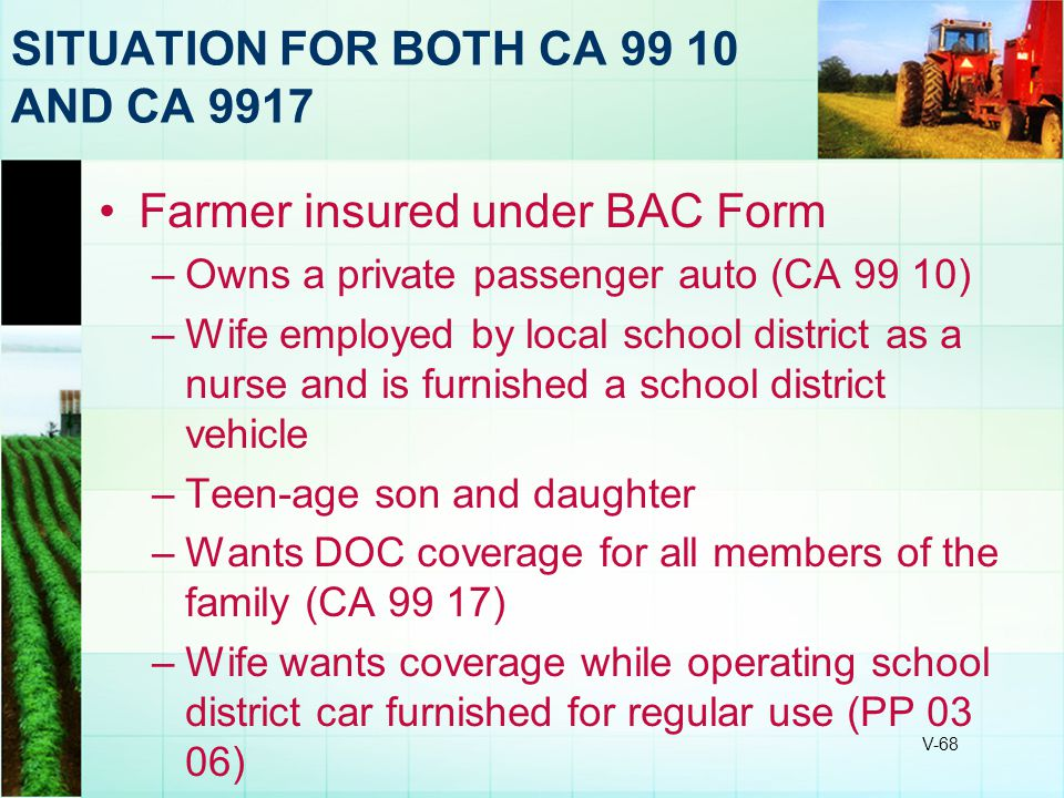 SITUATION FOR BOTH CA 99 10 AND CA 9917