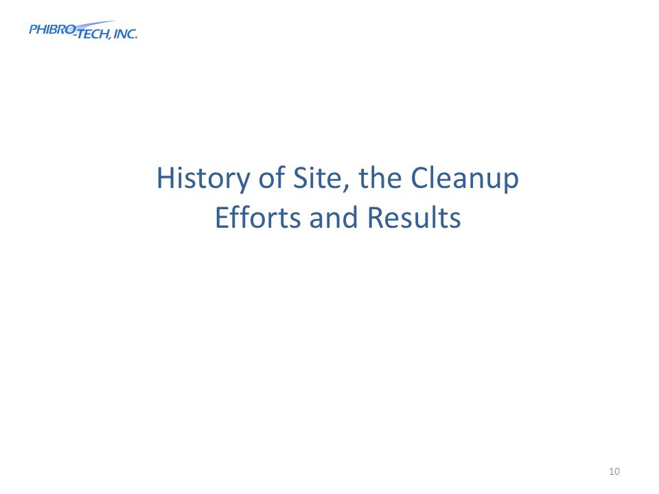 History of Site, the Cleanup Efforts and Results