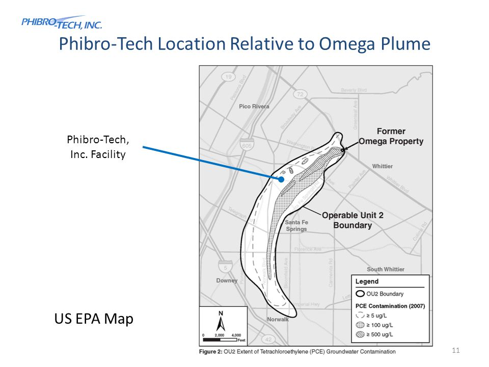 Phibro-Tech Location Relative to Omega Plume