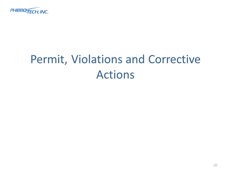 Permit, Violations and Corrective Actions