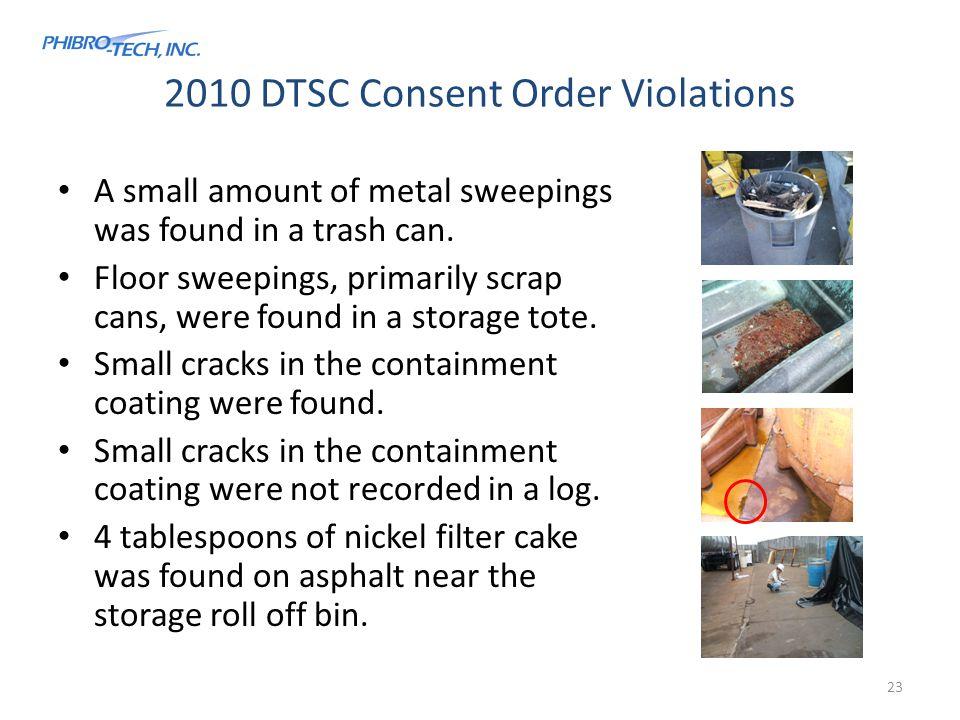 2010 DTSC Consent Order Violations