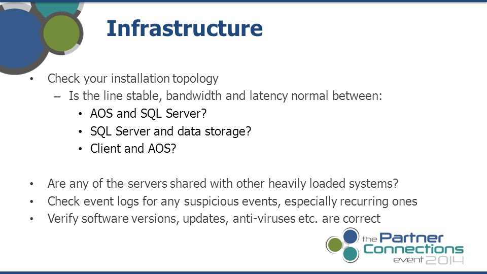 Infrastructure Check your installation topology