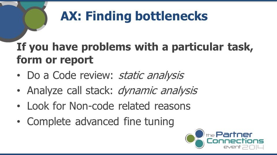 AX: Finding bottlenecks