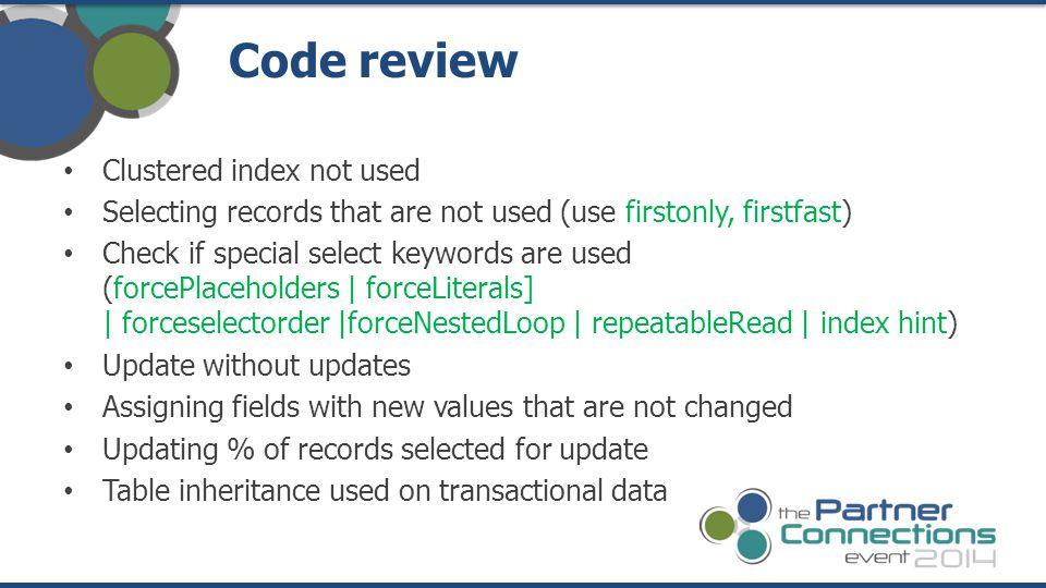 Code review Clustered index not used