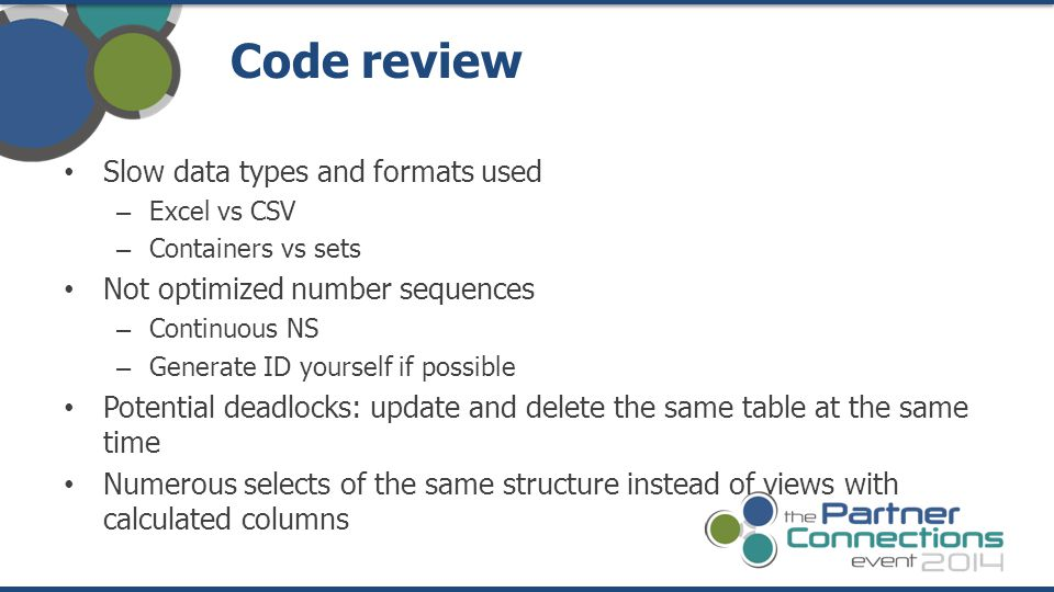 Code review Slow data types and formats used