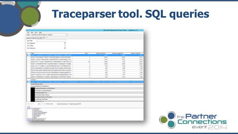 Traceparser tool. SQL queries