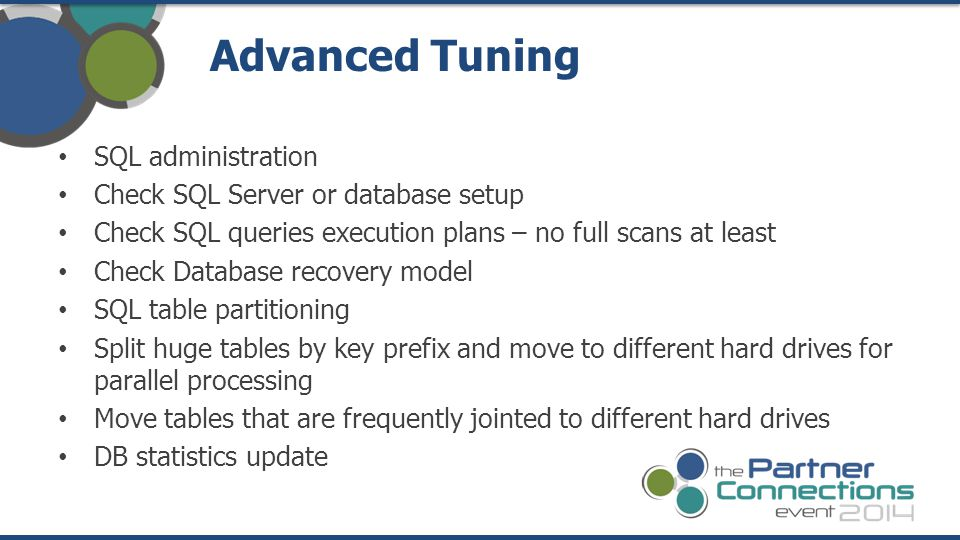 Advanced Tuning SQL administration Check SQL Server or database setup