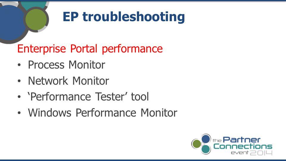 EP troubleshooting Enterprise Portal performance Process Monitor
