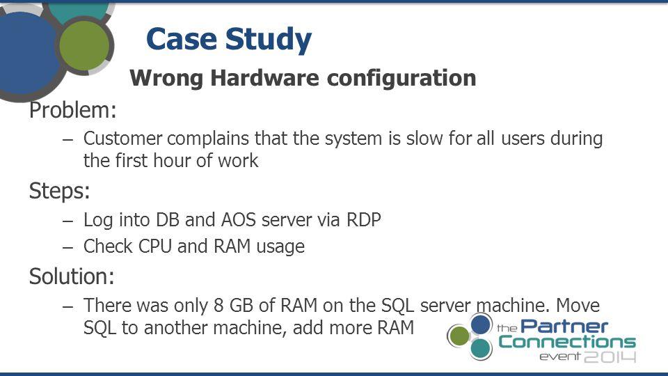 Case Study Wrong Hardware configuration Problem: Steps: Solution: