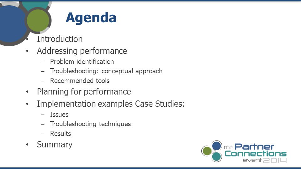 Agenda Introduction Addressing performance Planning for performance