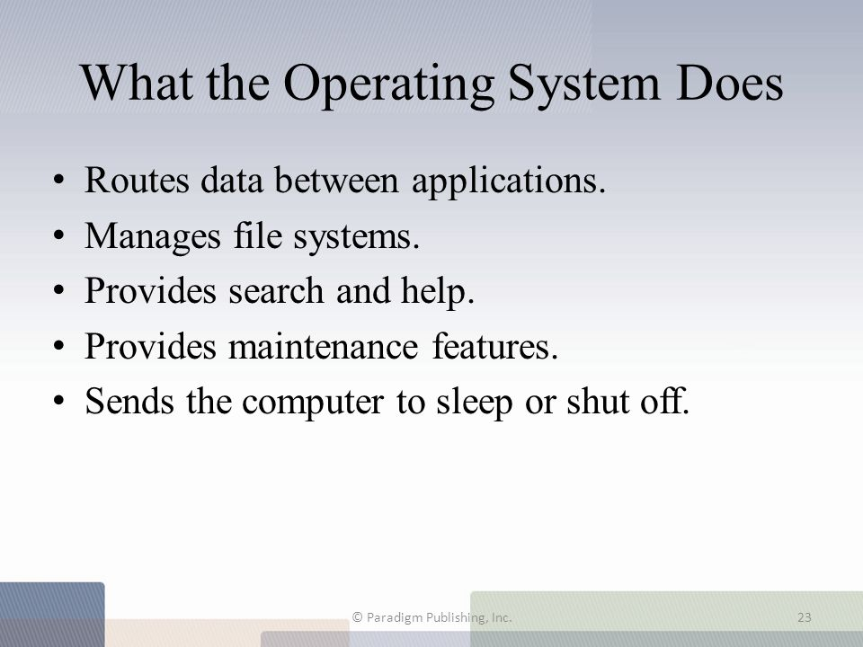What the Operating System Does