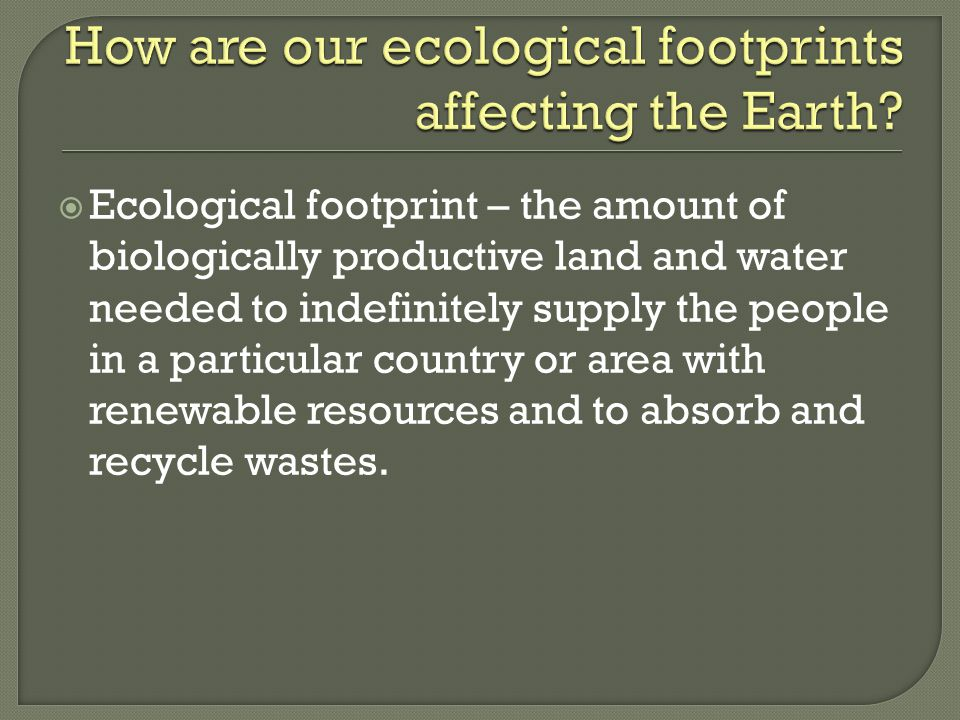 How are our ecological footprints affecting the Earth