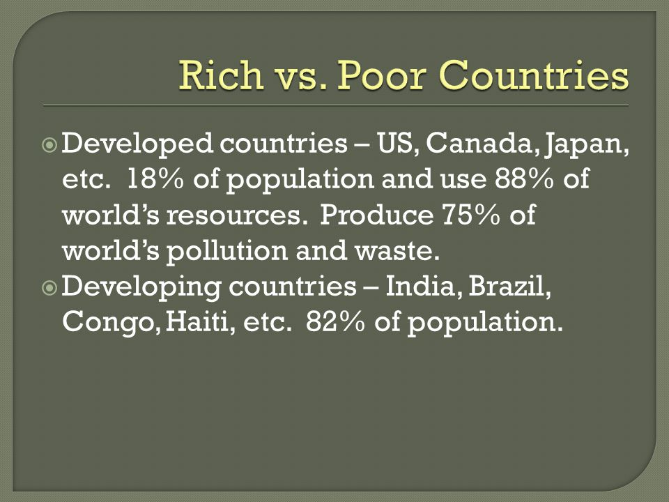 Rich vs. Poor Countries