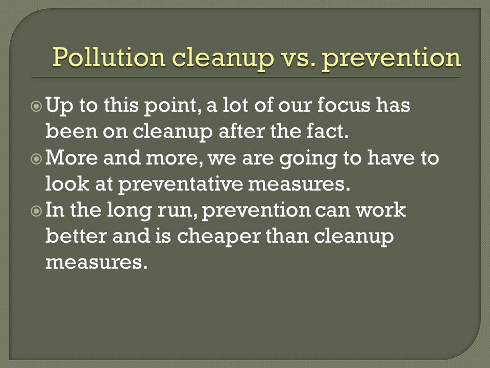 Pollution cleanup vs. prevention