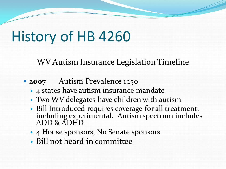 WV Autism Insurance Legislation Timeline