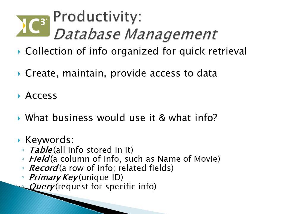 Productivity: Database Management