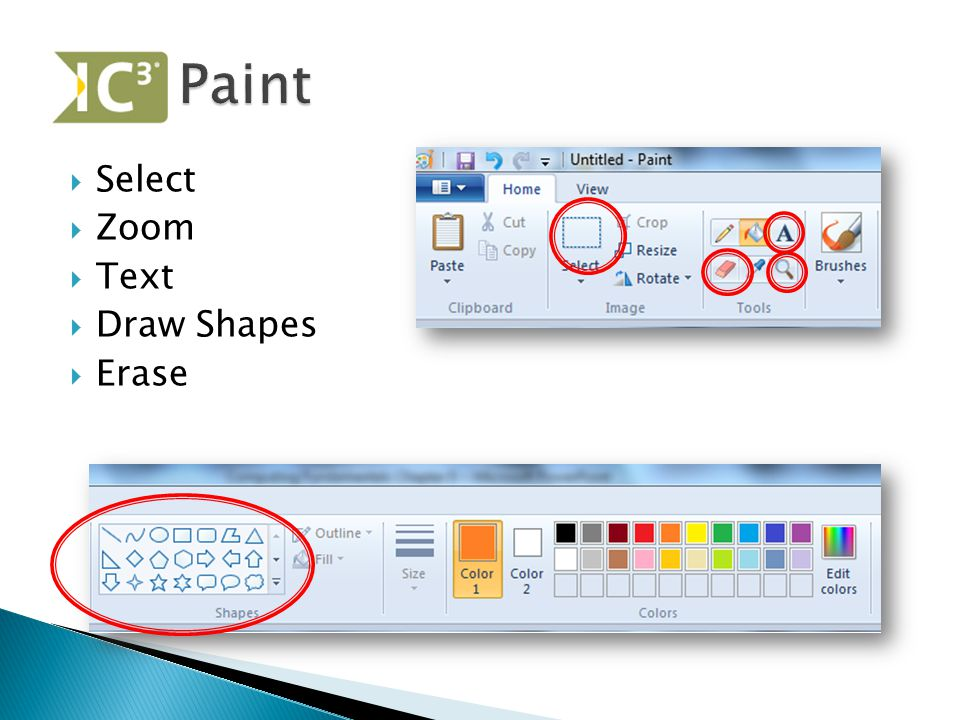 Paint Select Zoom Text Draw Shapes Erase