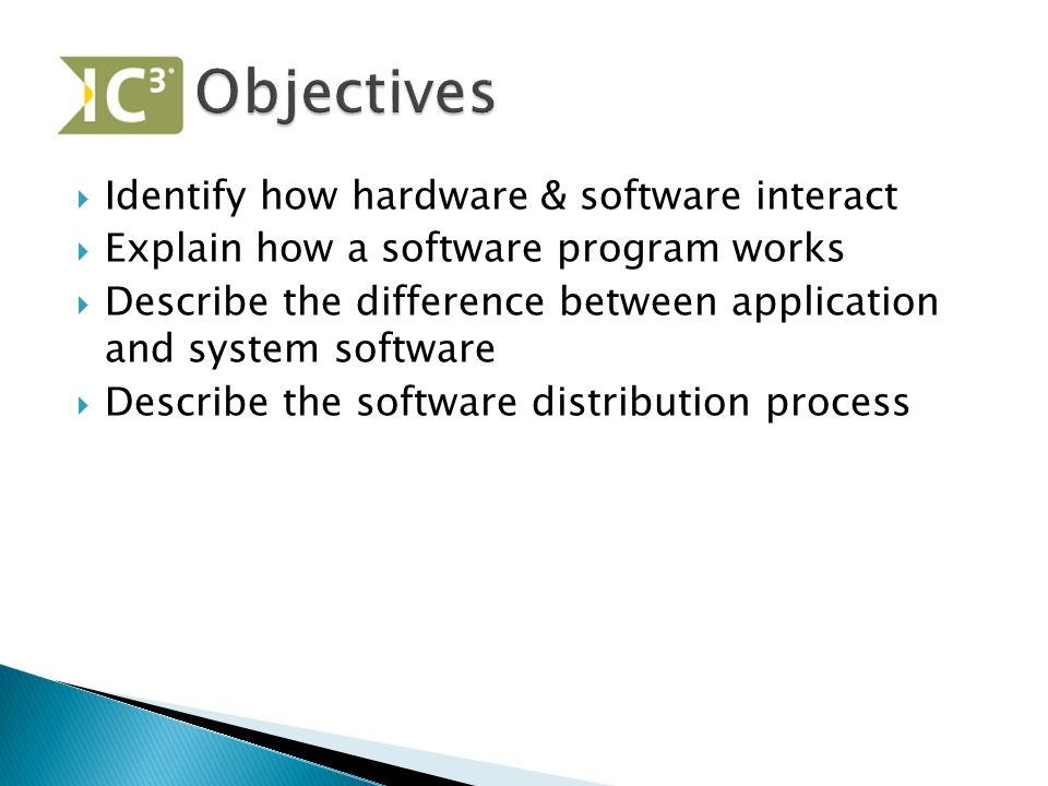 Objectives Identify how hardware & software interact