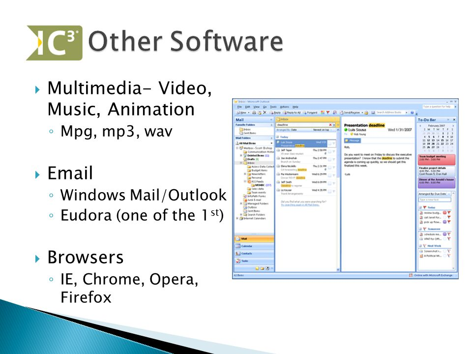 Other Software Multimedia- Video, Music, Animation Email Browsers