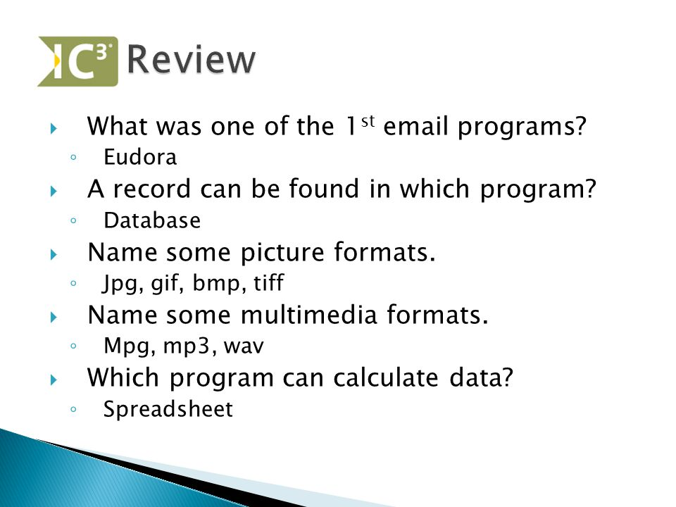 Review What was one of the 1st email programs