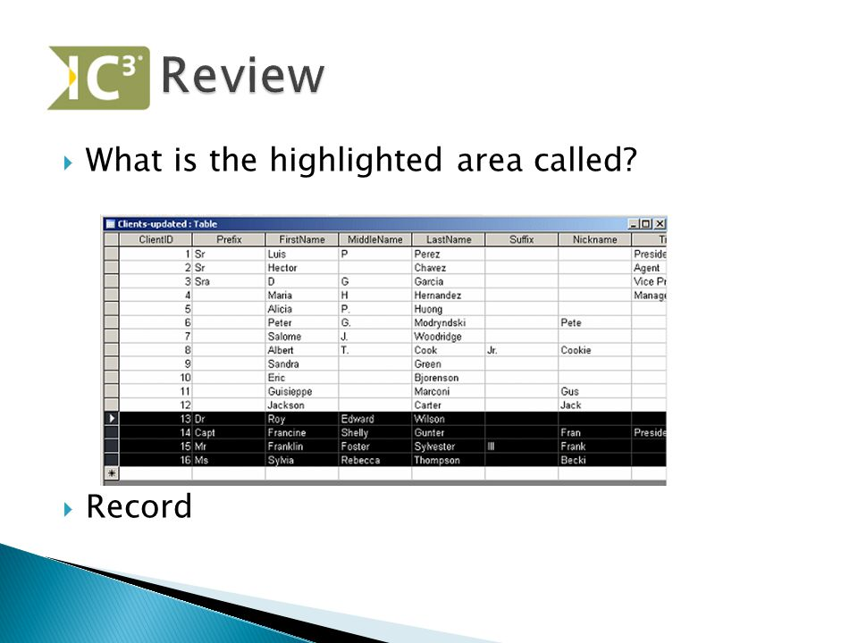 Review What is the highlighted area called Record