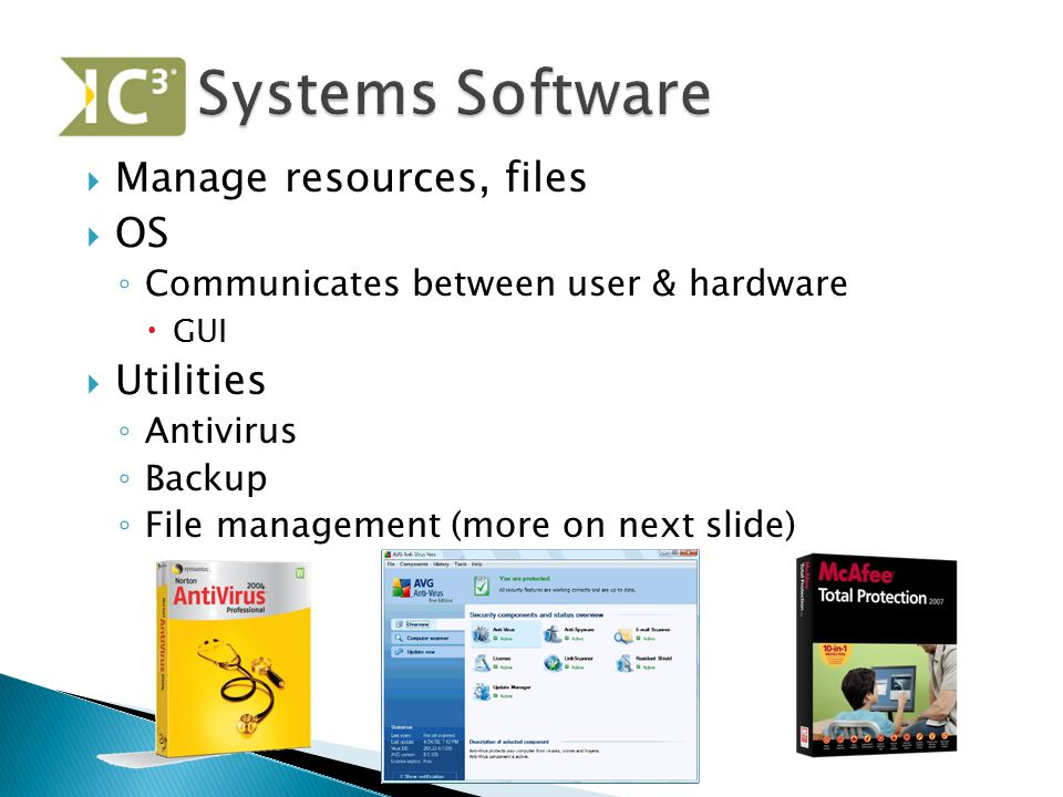 Systems Software Manage resources, files OS Utilities