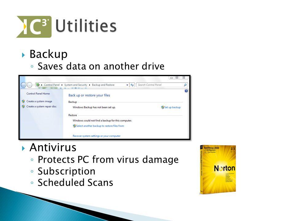 Utilities Backup Antivirus Saves data on another drive