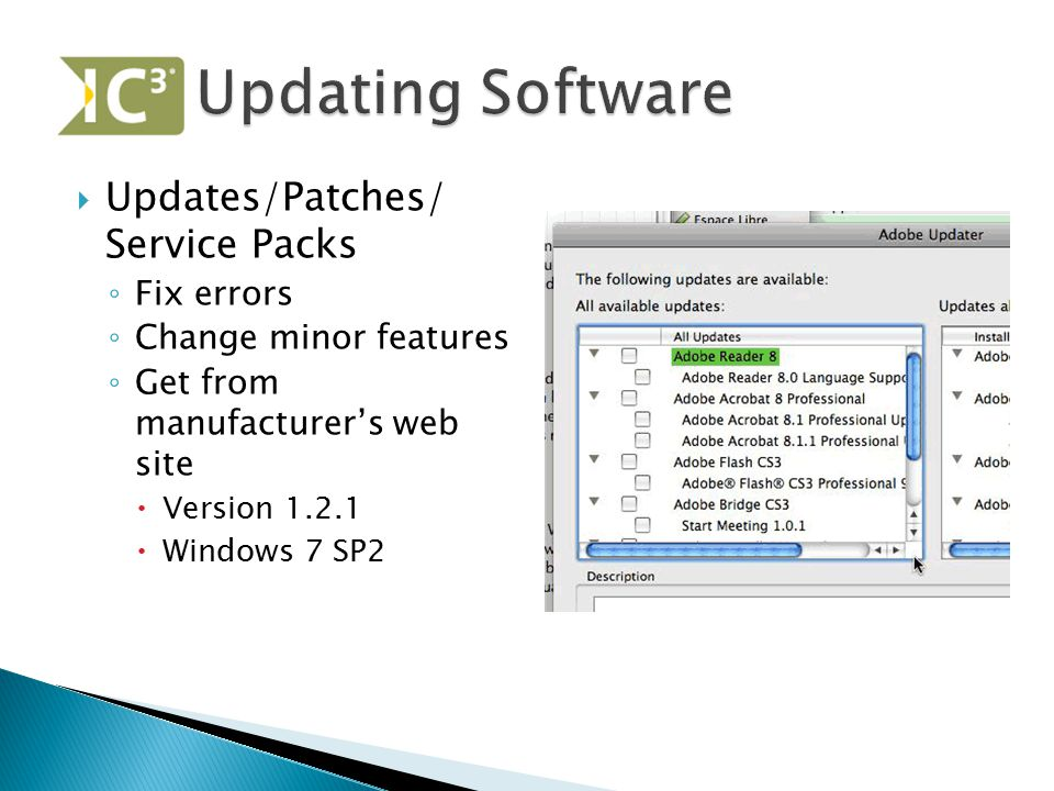 Updating Software Updates/Patches/ Service Packs Fix errors