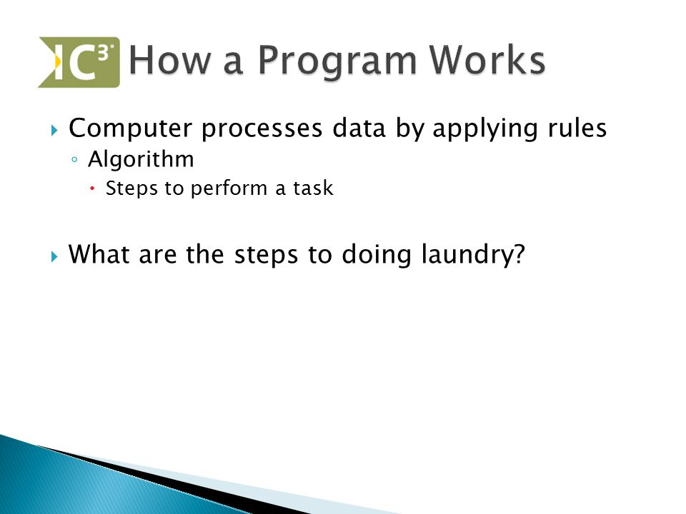 How a Program Works Computer processes data by applying rules