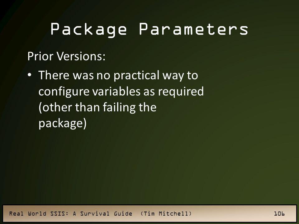 Package Parameters Prior Versions: