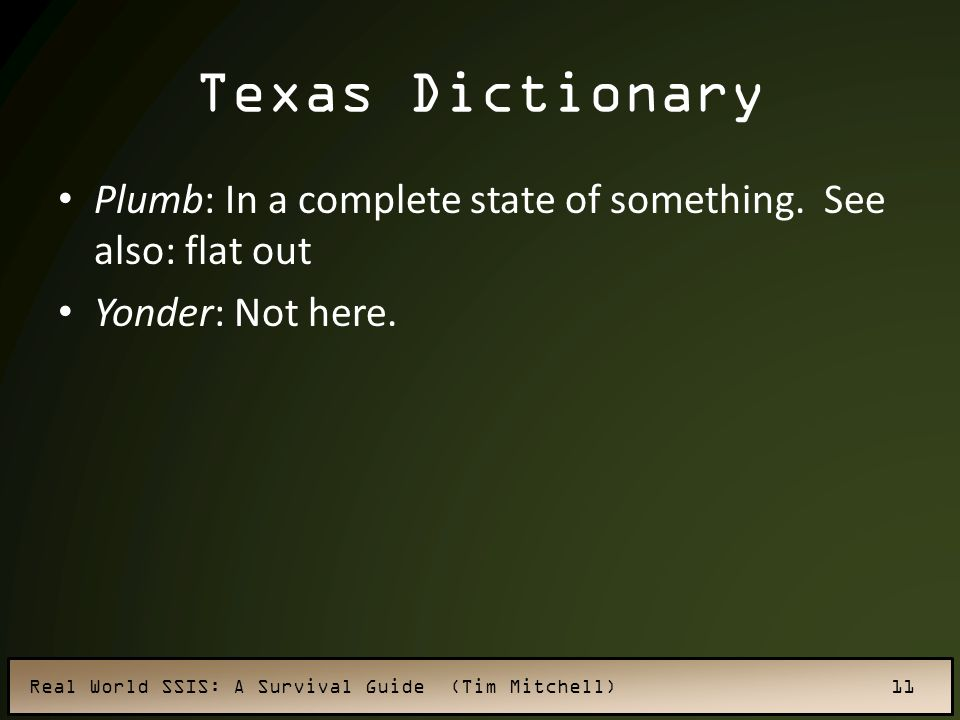 Texas Dictionary Plumb: In a complete state of something. See also: flat out Yonder: Not here.