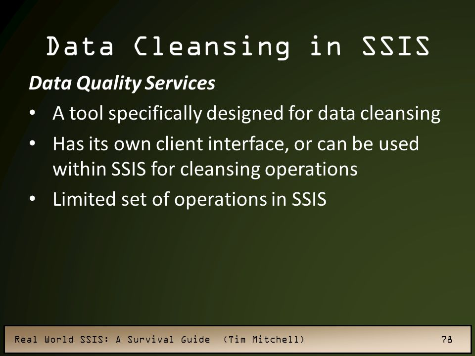 Data Cleansing in SSIS Data Quality Services
