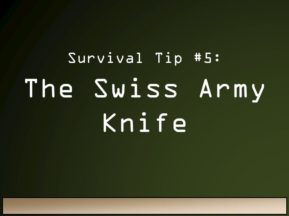 Survival Tip #5: The Swiss Army Knife