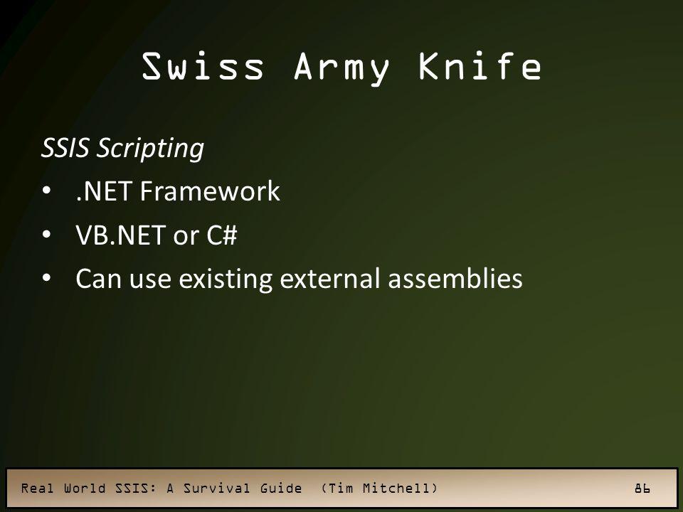 Swiss Army Knife SSIS Scripting .NET Framework VB.NET or C#