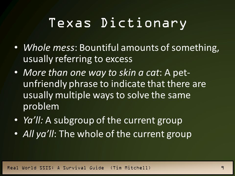 Texas Dictionary Whole mess: Bountiful amounts of something, usually referring to excess.