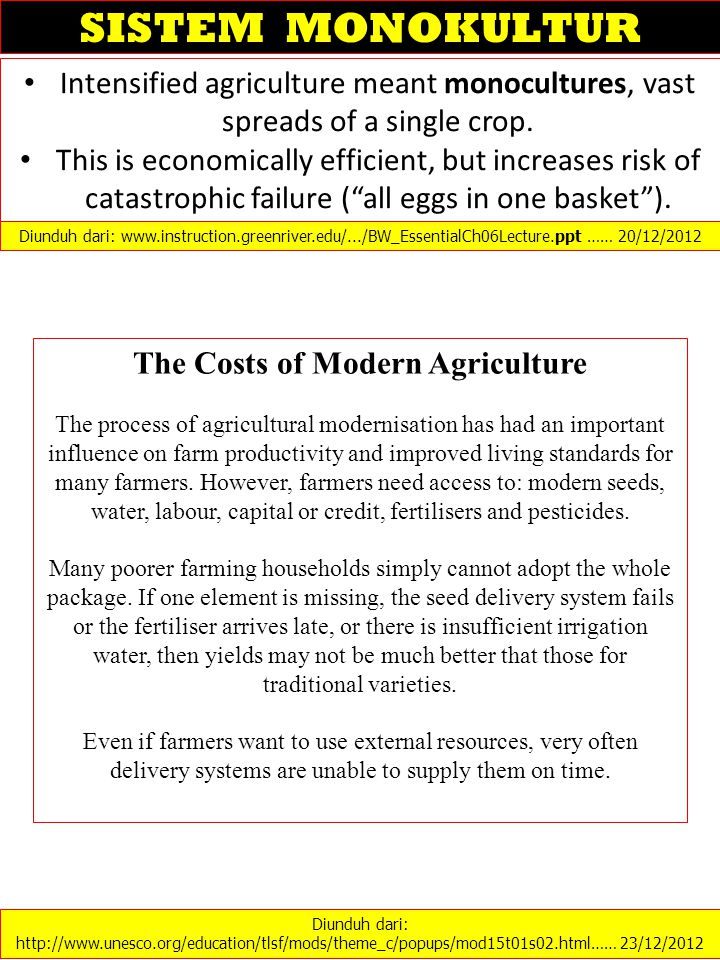 The Costs of Modern Agriculture