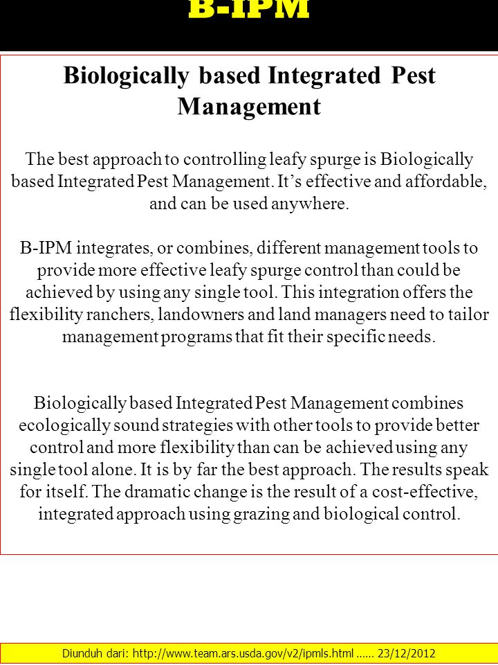 Biologically based Integrated Pest Management