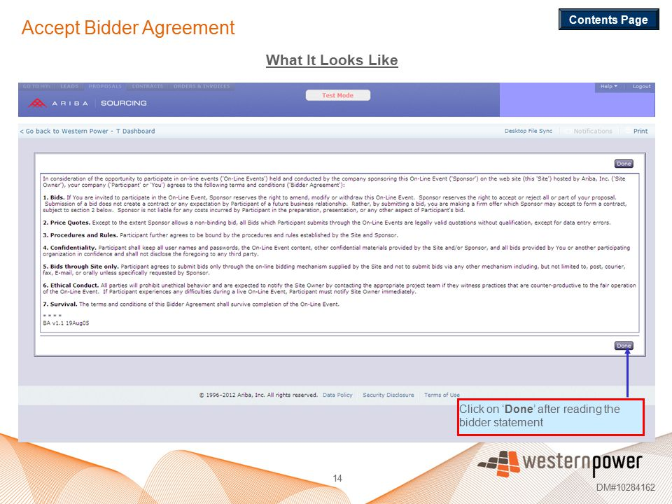 Accept Bidder Agreement