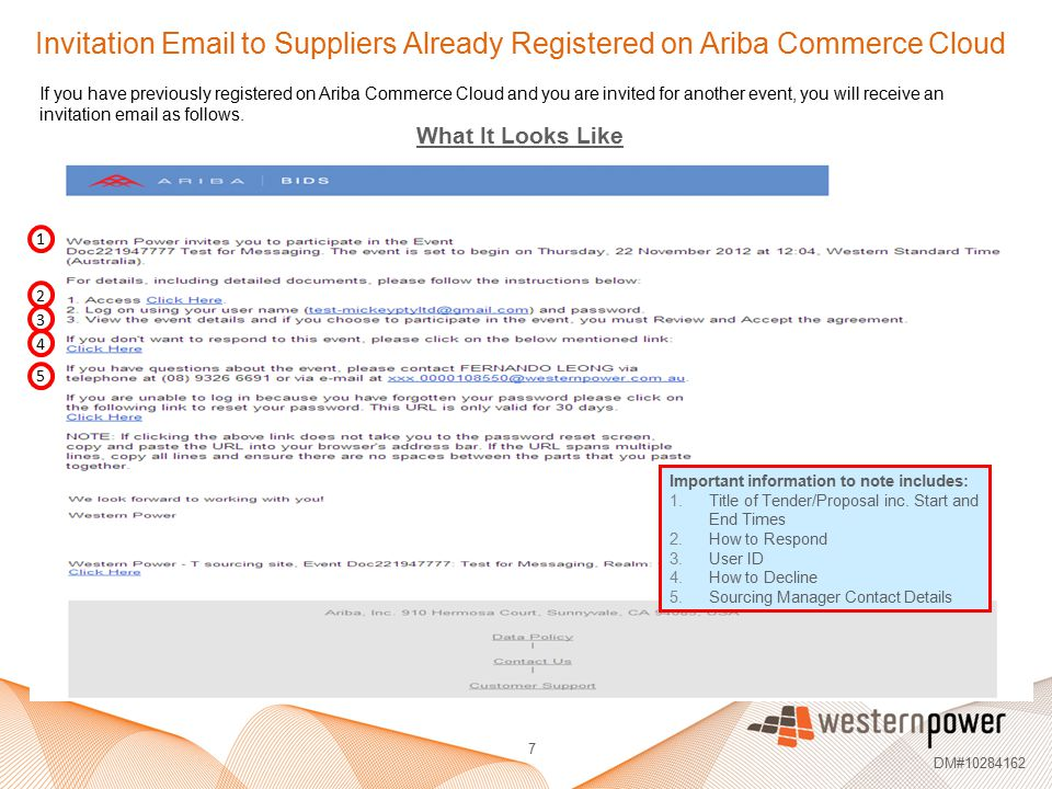 Invitation Email to Suppliers Already Registered on Ariba Commerce Cloud