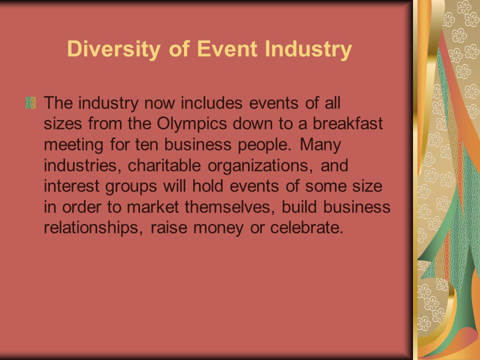 Diversity of Event Industry