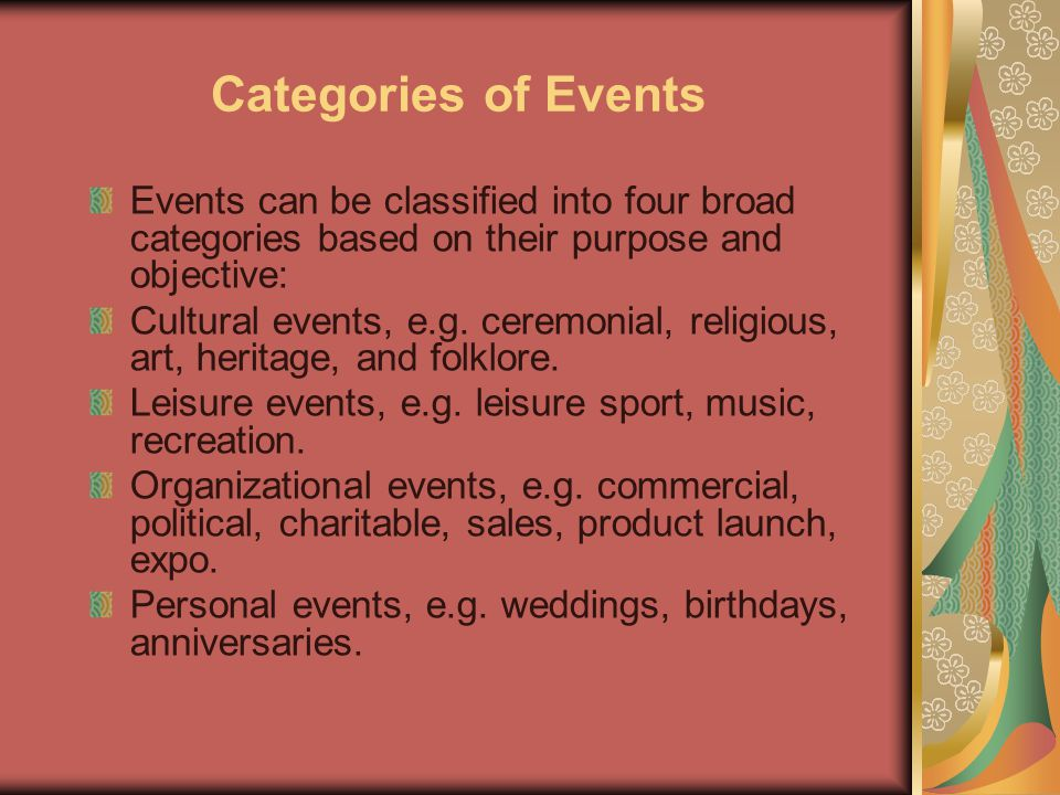 Categories of Events Events can be classified into four broad categories based on their purpose and objective:
