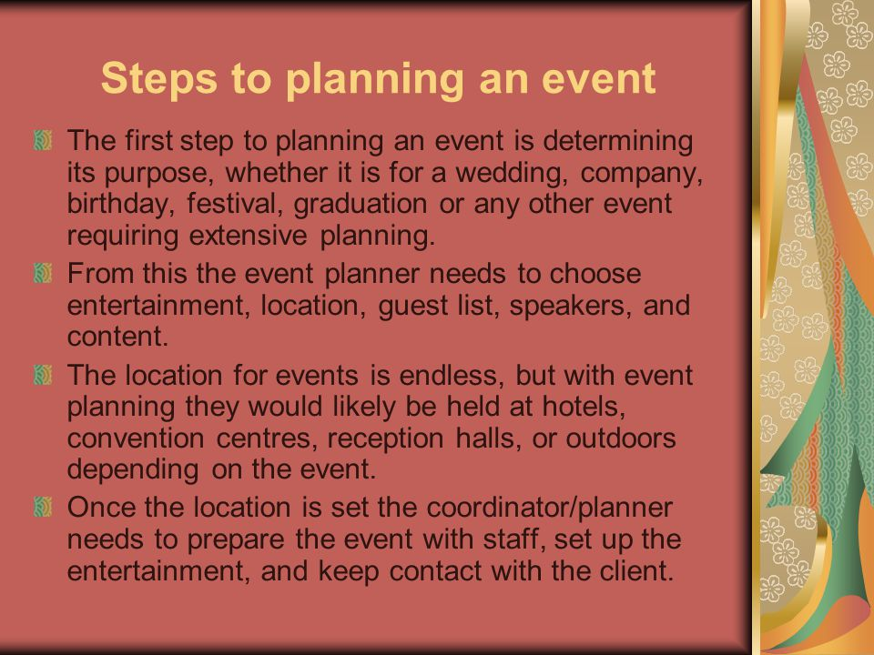 Steps to planning an event