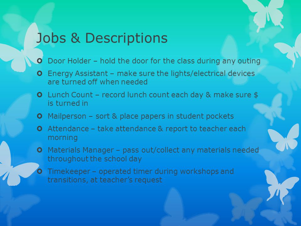 Jobs & Descriptions Door Holder – hold the door for the class during any outing.