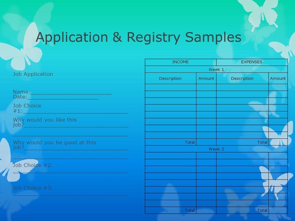 Application & Registry Samples